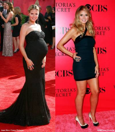 after pregnancy weight loss - before and after - heidi klum