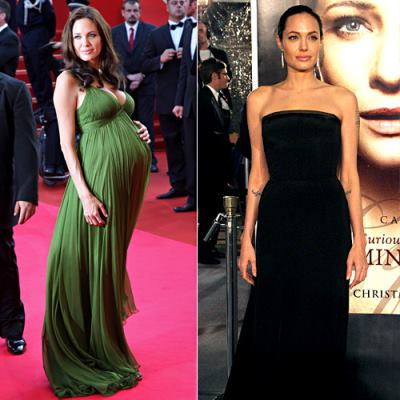 celebrity after pregnancy weight loss - before and after - angelina jolie