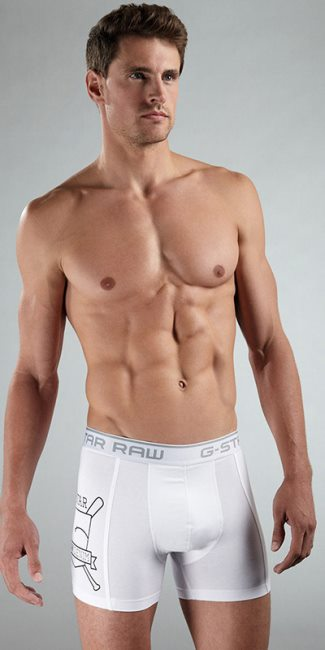 g star raw mens underwear models - Ryan Bertroche white boxer briefs