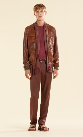 gucci brown leather bomber jacet -4900usd