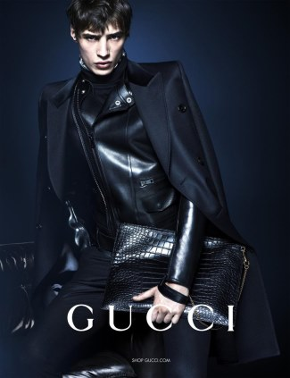 gucci leather jacket and coats for men - seen on male model adrien sahores