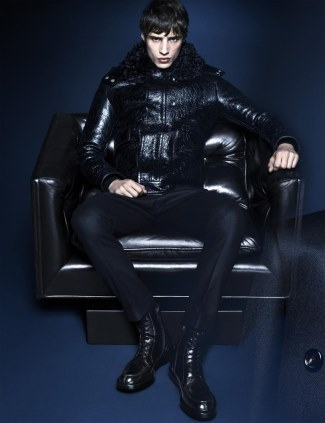 gucci mens leather jacket 2014 - fall winter 13-14 - male model adrien sahores