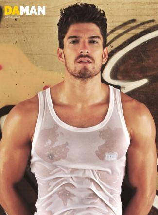 hugo boss top muscle shirt - for daman magazine - model David Sanz
