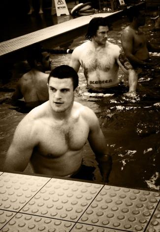 luke burgess shirtless in pool with steve mcqueen
