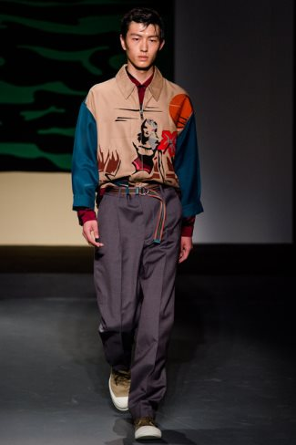 prada mens jacket 2014 - spring summer collection - milan fw with model jin dauchan