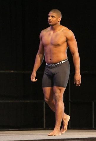 michael sam shirtless underwear - underarmour - reese superbowl weighin jan 14 in mobile alabama2