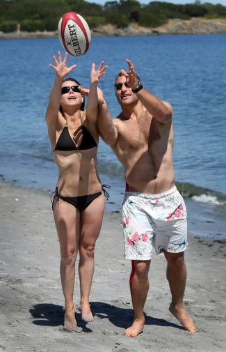 Adam Kleeberger shirtless with girlfriend Tanja Ness - credit BRUCE STOTESBURY of timecolonist