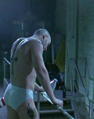 russell crowe underwear - tight white briefs in romper stomper2