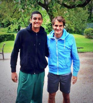 Nick Kyrgios with roger federer