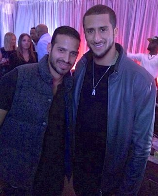 colin caepernick gay with dj luis perez at super bowl party