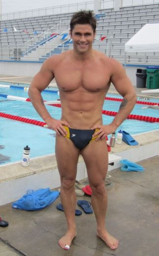 gay guys in speedos - Jack Mackenroth - designer on project runway - swimmer outgames