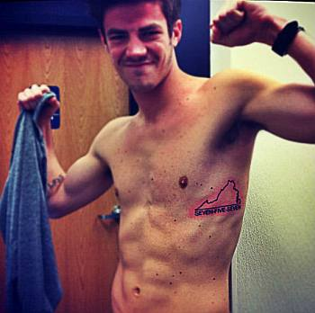 grant gustin shirtless tattoo