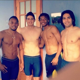 james rodriguez underwear - spandex - with colombian footballers