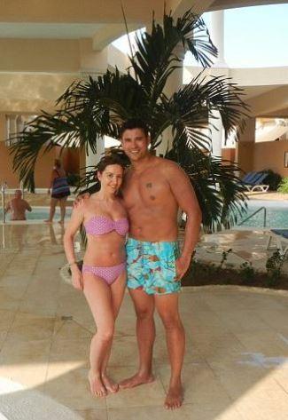 rav wilding swim shorts - with fiancee ITV Loose Women producer Jill Morgan