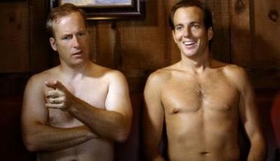 Bob Odenkirk shirtless with Will Arnett