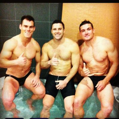 men wearing budgie smugglers John Morris Chris Heighington Cronulla Sharks in the National Rugby League
