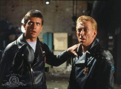 mad max leather jackets - Still of Mel Gibson and Steve Bisley in Mad Max - mgm