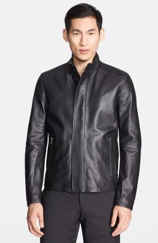 mens leather jacket sale 2014 - armani collezioni lambskin