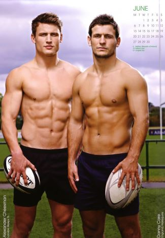 alexander cheesman and danny care - rugby finest hunks calendar 2011
