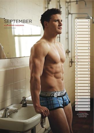 alexander cheesman - rugbys finest calendar hunks - sept 2014 - cornish pirates