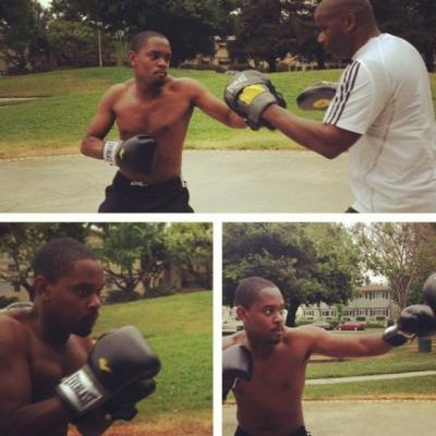 aml ameen shirtless -boxing training for maze runner - instagram amlameenbaby