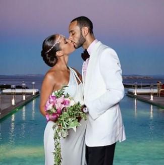 best white wedding tux jacket - Alicia Keys weding to Swizz Beatz