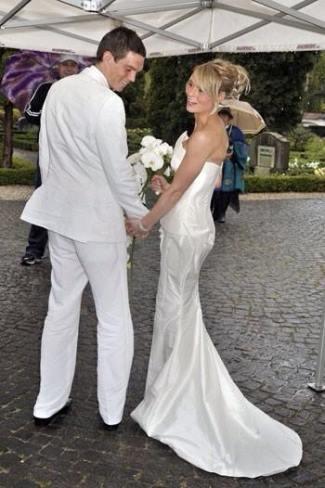 best white wedding tuxedo suits - daniel agger sofie nelson