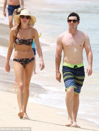 rory mcilroy shirtless with fiancee Erica Stoll in Barbados