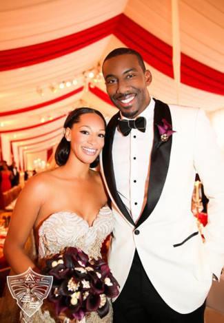 white wedding tuxedo jacket -   Amare Stoudemire and his wife Alexis