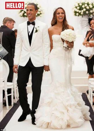 white wedding tuxedo jacket -  Marvin Humes wedding to Rochelle Wiseman