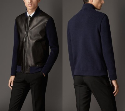 Burberry London cotton and leather zip front jacket3