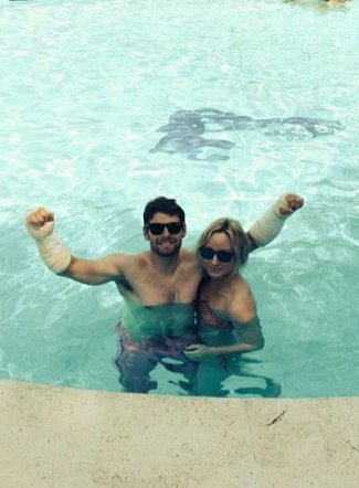 Cal Crutchlow shirtless - motogp riders with wife lucy heron