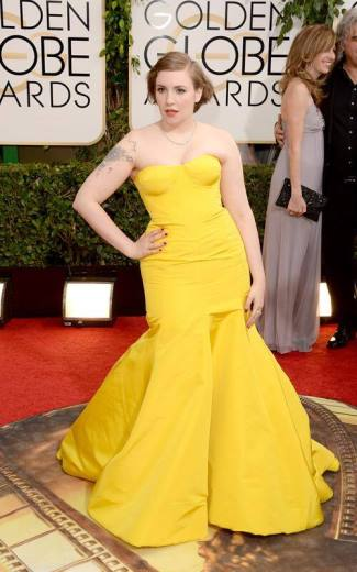 Lena Dunham fashion style - golden globes 2014 - yellow strapless gown by Zac Posen