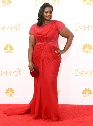 Octavia Spencer plus size fashion - 2014 emmy awards - custom Tadashi Shoji dress