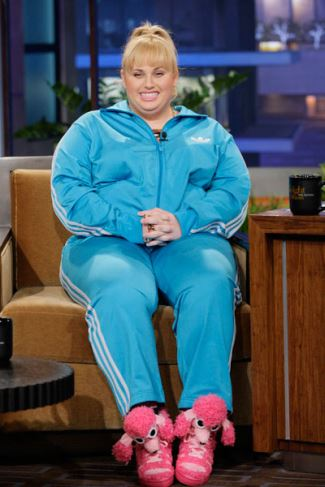 Rebel Wilson In Jeremy Scott For Adidas Poodle Sneakers And Tracksuit - tonight show