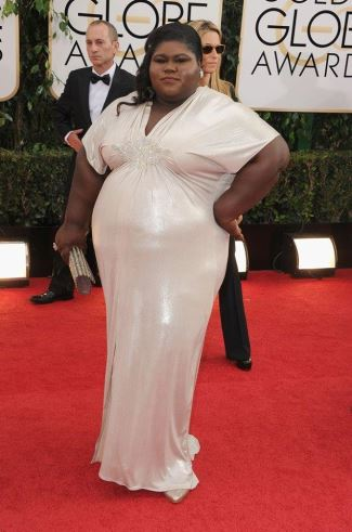 gabourey sidibe - plus size fashion - 2014 golden globes - custom dress made by Daniel Musto