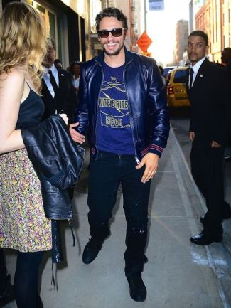 jeans leather jacket casual wear - James Franco Wears Gucci Navy Leather Jacket