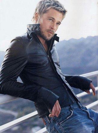 jeans leather jacket casual wear - brad pitt