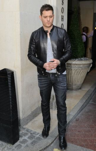 jeans leather jacket casual wear - michael buble