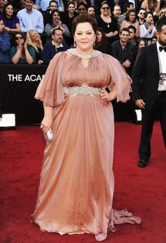 melissa mccarthy red carpet fashion - maria rinaldi dress - ocsars 2012