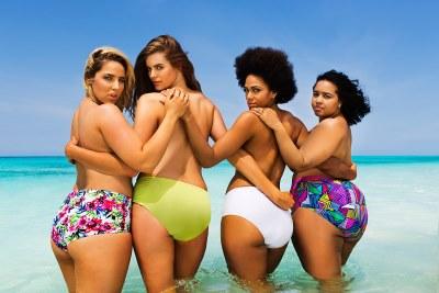 plus size swimwear models - swimsuits for all - Robyn Lawley Jada Sezer Shareefa J with blogger Gabi Gregg