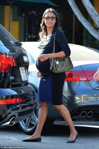 zoe saldana pregnancy skirt - seraphine colour block fitted skirt