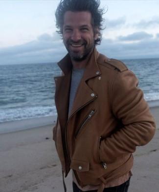 celebrities wearing BLK DNM leather jacket - aaron young