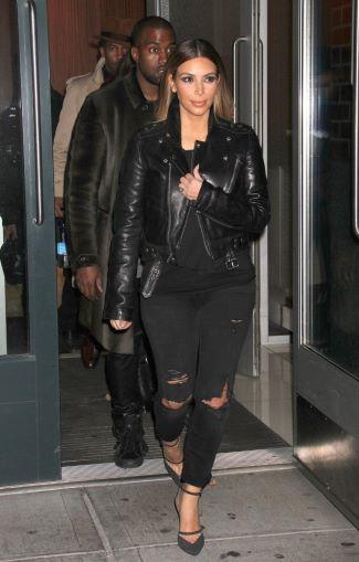 celebrities wearing BLK DNM leather jacket - kim kardashian