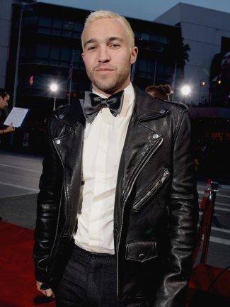 celebrities wearing BLK DNM leather jacket - pete wentz