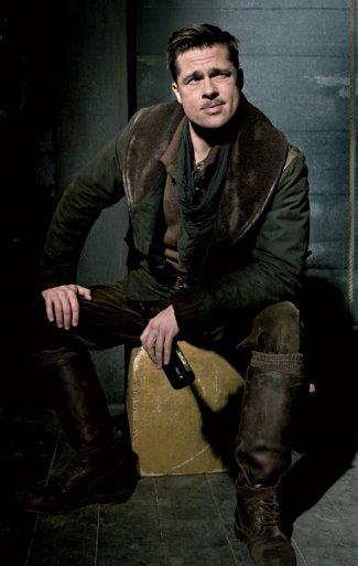 brad pitt leather jacket - belstaff - inglorious basterds