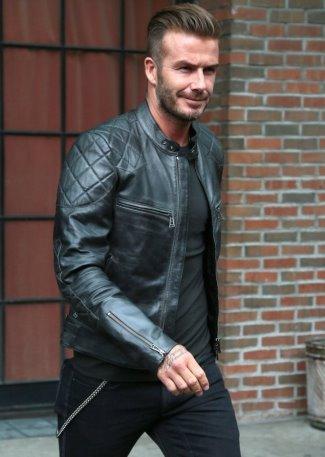 celebrities wearing belstaff leather jackets - beckham in Belstaff Quilted Band Collar Black Leather Biker Jacket