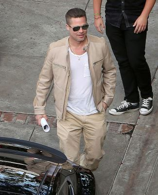 celebrities wearing salvatore ferragamo leather jacket - brad pitt