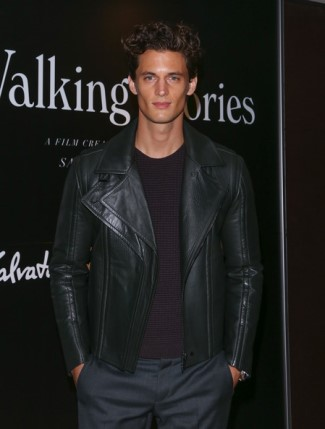 celebrities wearing salvatore ferragamo leather jacket - garrett neff