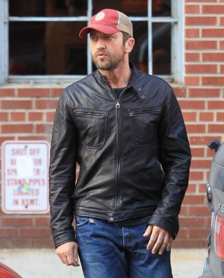 celebrities wearing salvatore ferragamo leather jacket - gerard butler